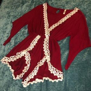 Red / Cranberry Romper With White Lace Trim